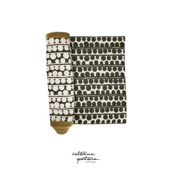 Striscia Decorativa in Tessuto Lino Nero e Velluto